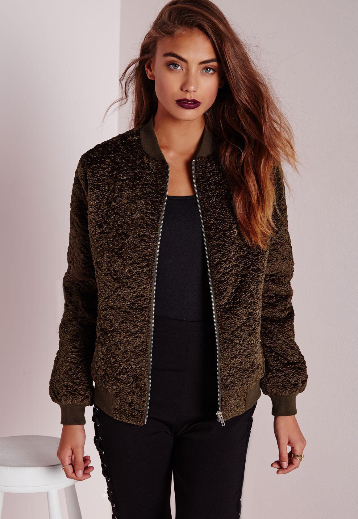 Wool Bomber Jacket Khaki   Missguided