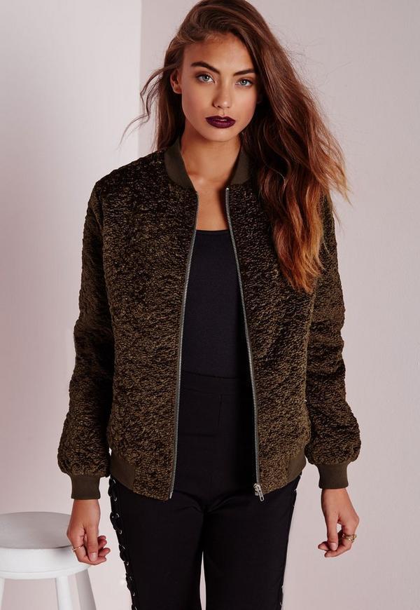 Wool Bomber Jacket Khaki