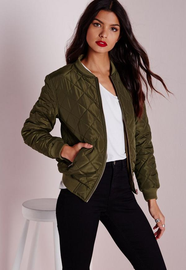 Quilted Padded Bomber Jacket Khaki