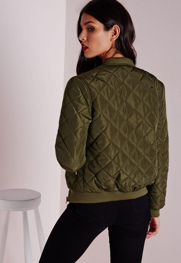 Quilted Padded Bomber Jacket Khaki - Coats and Jackets - Bomber ...