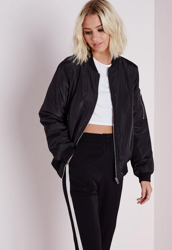 padded bomber jacket black missguided. Black Bedroom Furniture Sets. Home Design Ideas