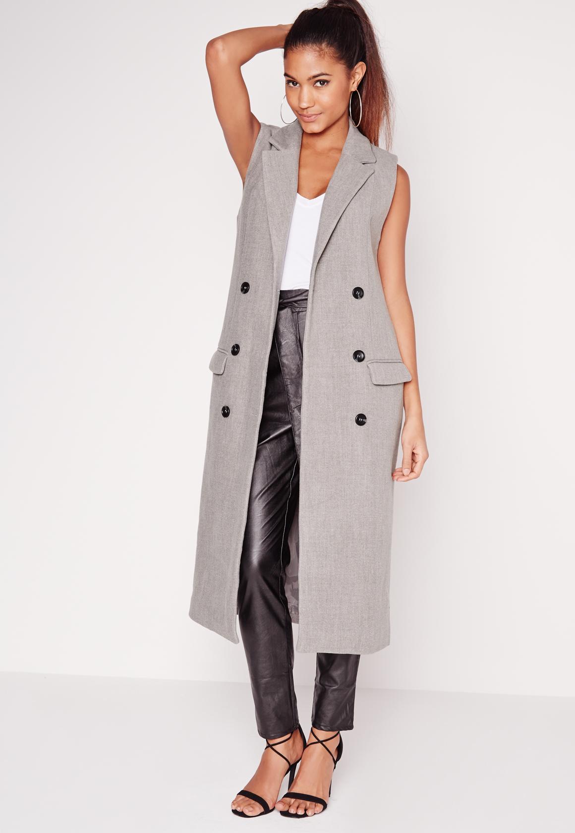 9868441f62564 Double breasted sleeveless wool maxi coat grey missguided jpg 1160x1680 Grey  sleeveless coat