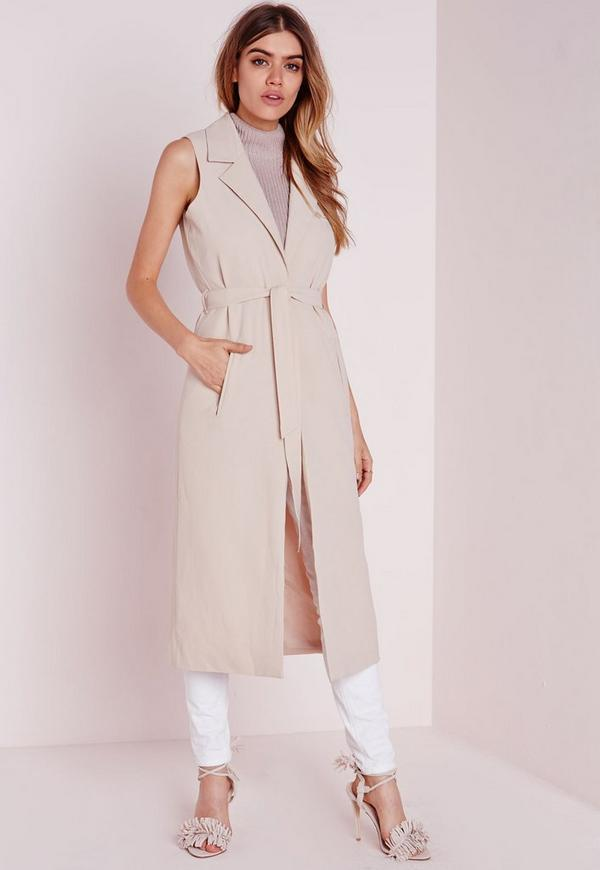 Sleeveless Belted Longline Duster Coat Nude