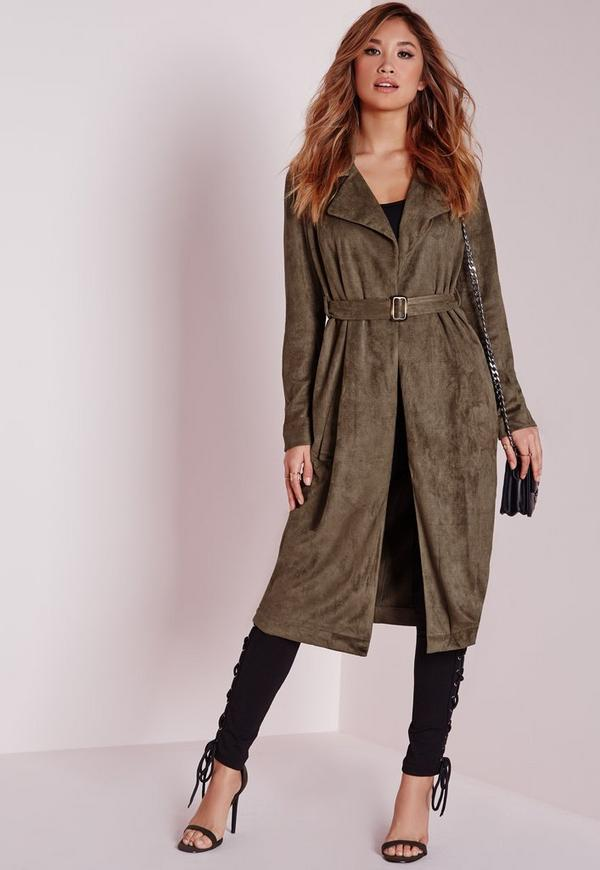 Faux Suede Trench Coat Khaki