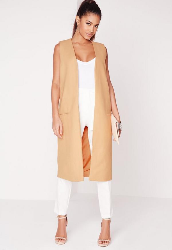Longline Sleeveless Tailored Wool Blazer Camel