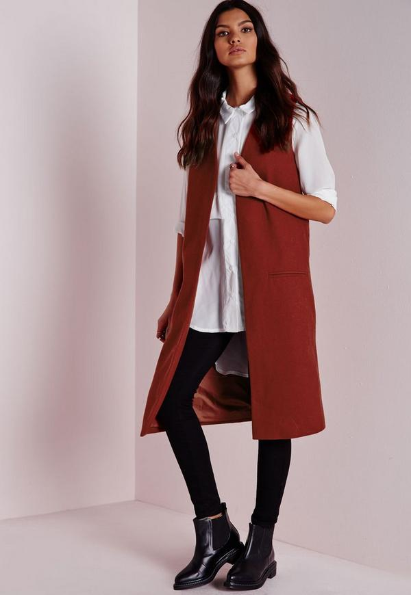 Longline Sleeveless Tailored Wool Blazer Rust