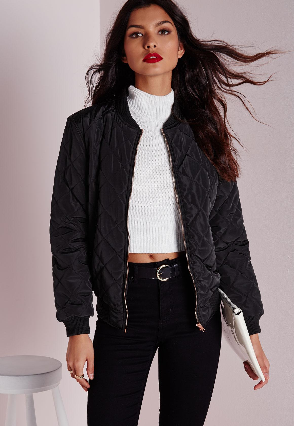 Quilted Padded Bomber Jacket Black | Missguided