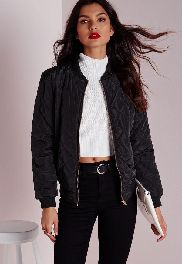 Quilted Padded Bomber Jacket Black