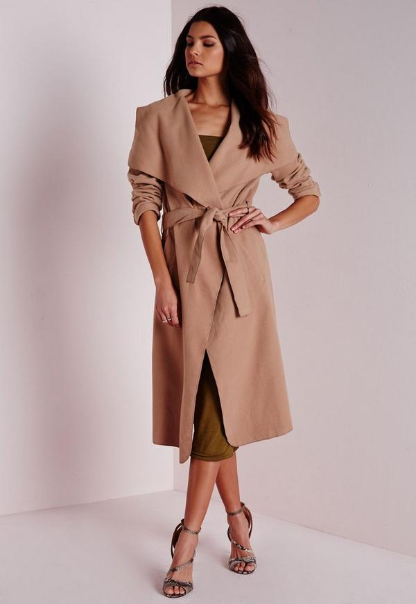 Belted Waterfall Coat Camel