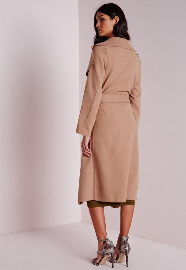 belted waterfall coat camel missguided. Black Bedroom Furniture Sets. Home Design Ideas