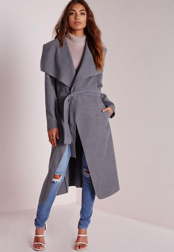 Belted Waterfall Coat Grey