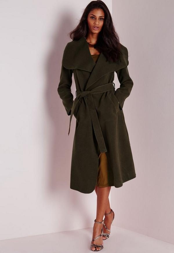 Belted Waterfall Coat Khaki