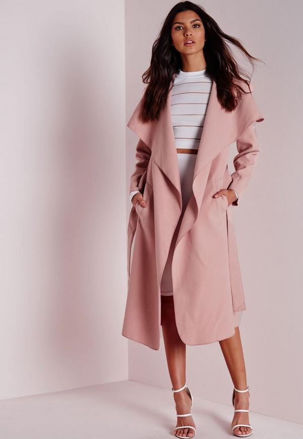 Belted Waterfall Coat Mauve
