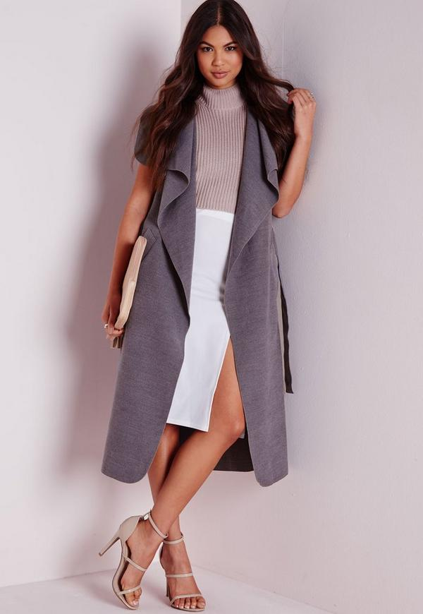 Sleeveless Belted Waterfall Coat Grey