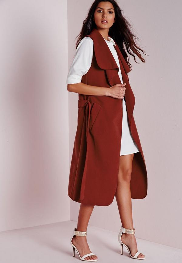 Sleeveless Belted Waterfall Coat Rust