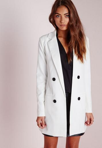 double breasted blazer white missguided australia. Black Bedroom Furniture Sets. Home Design Ideas