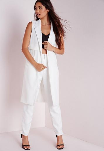 sleeveless longline tailored blazer white missguided. Black Bedroom Furniture Sets. Home Design Ideas