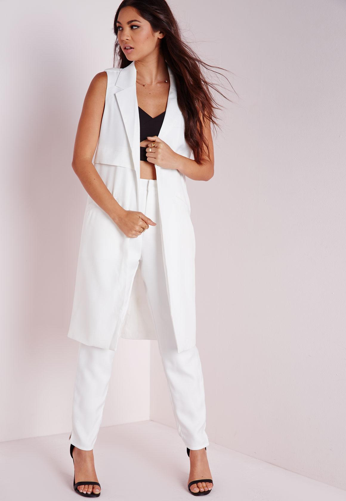 209ac512fe57 Sleeveless Longline Tailored Blazer White