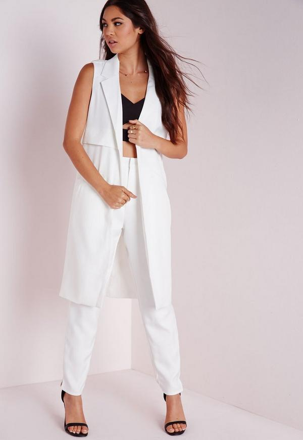 Sleeveless Longline Tailored Blazer White
