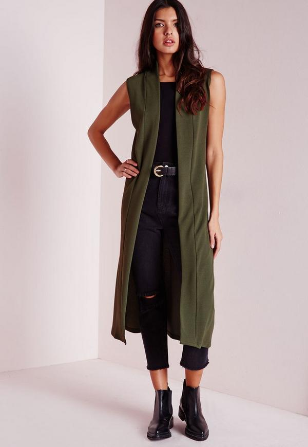 Sleeveless Longline Collarless Blazer Khaki