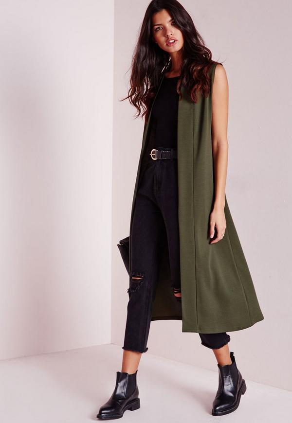 blazer long sans manches vert kaki missguided. Black Bedroom Furniture Sets. Home Design Ideas