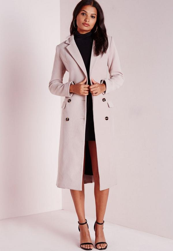 Double Breasted Tailored Long Wool Coat Mauve - Coats and Jackets ...