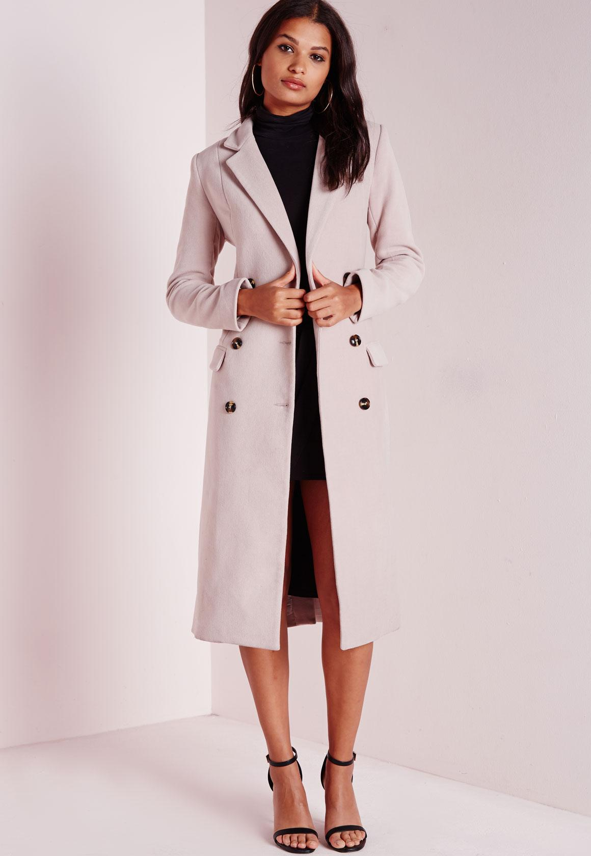 Double Breasted Tailored Long Wool Coat Mauve | Missguided