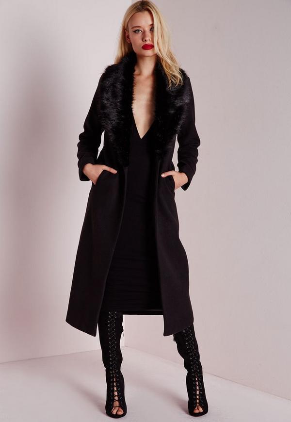 Longline Faux Wool Coat with Faux Fur Collar Black