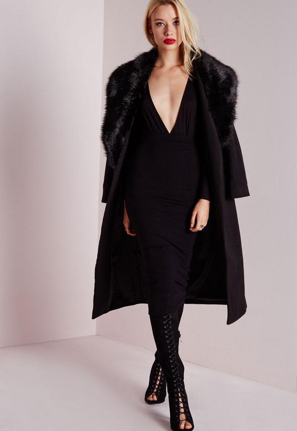 Longline Wool Coat with Faux Fur Collar Black - Coats and Jackets ...
