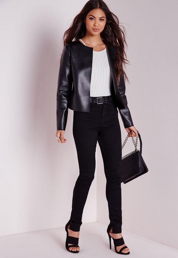 Collarless Black Jacket