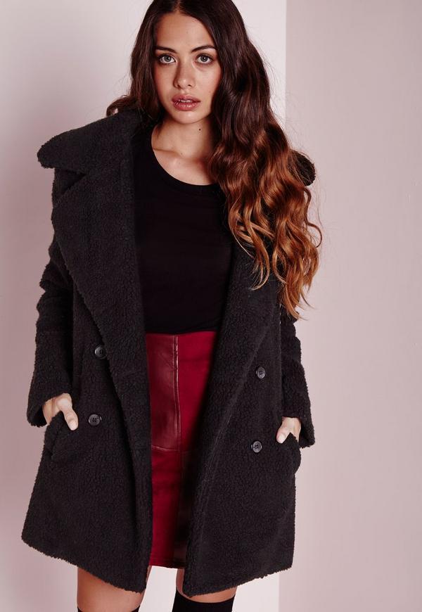 Teddy Shearling Faux Wool Coat Black | Missguided