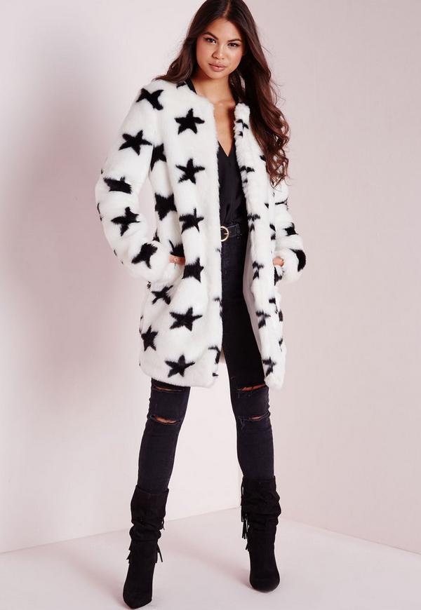 Faux Fur Star Print Coat White