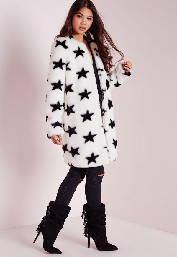 Faux Fur Star Print Coat White Missguided