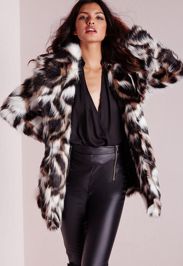 Patchwork Longline Faux Fur Coat Multi
