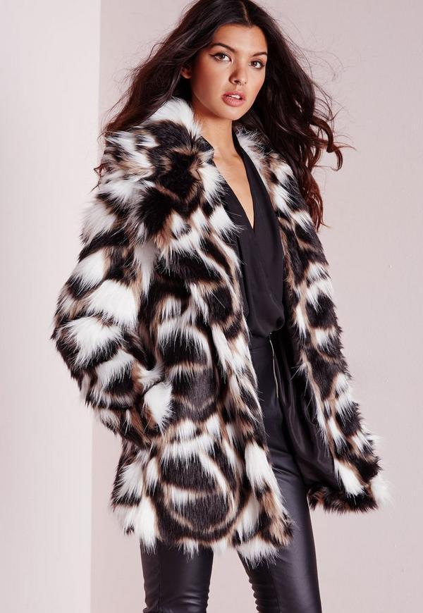 Patchwork Longline Faux Fur Coat Multi | Missguided