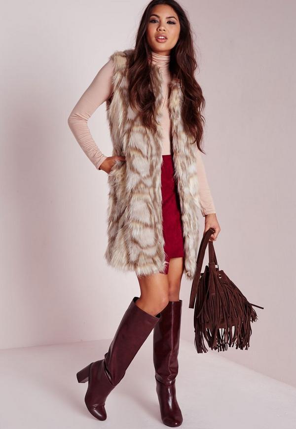 Patchwork Longline Faux Fur Gilet Beige