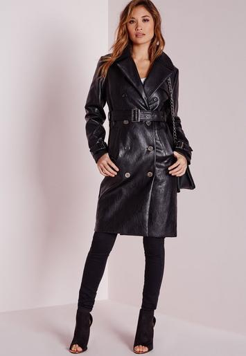 Faux Leather Trench Coat With Shearling Collar Black
