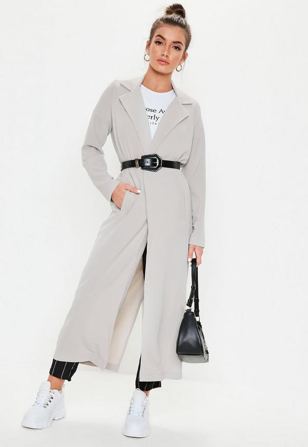 6d5743476ef7c Long Sleeve Maxi Duster Jacket Grey