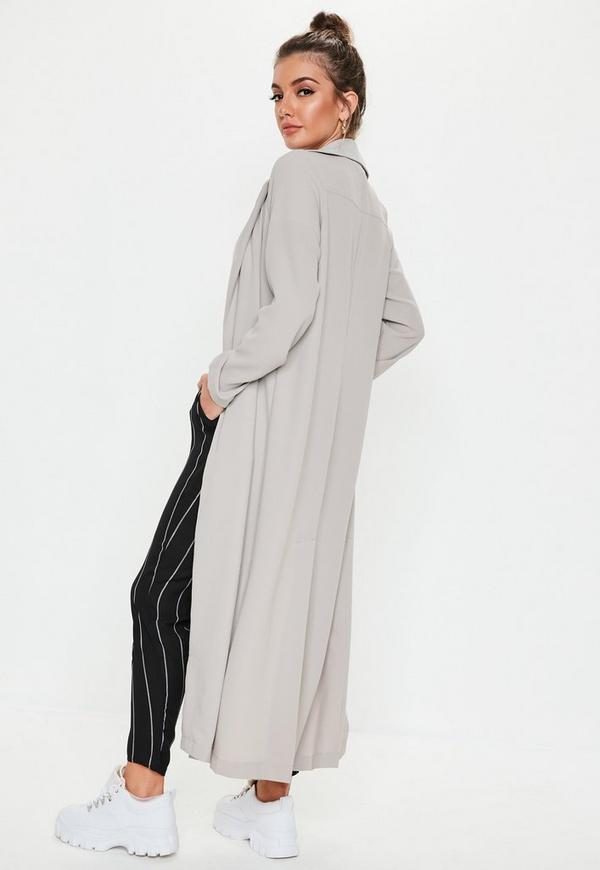 Long Sleeve Maxi Duster Jacket Grey Missguided