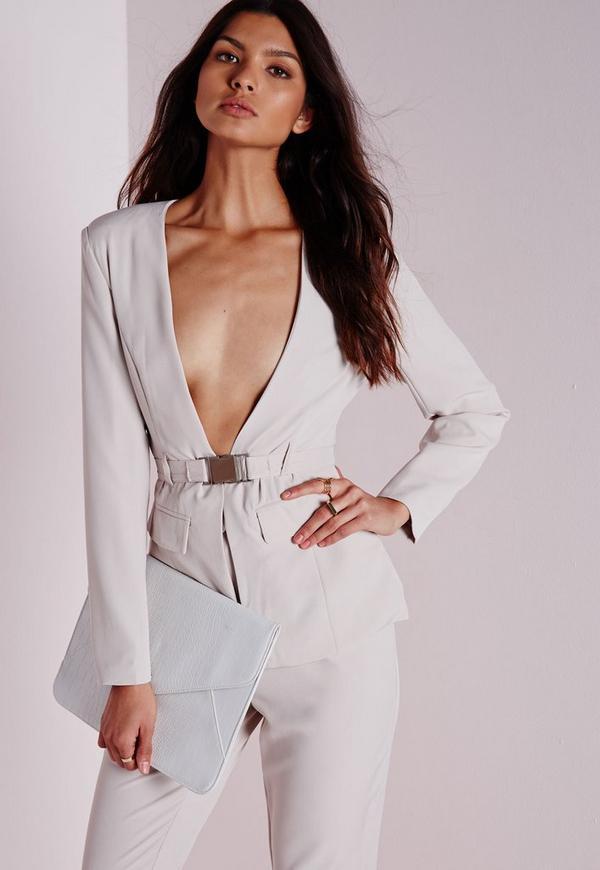 Belted Blazer Grey