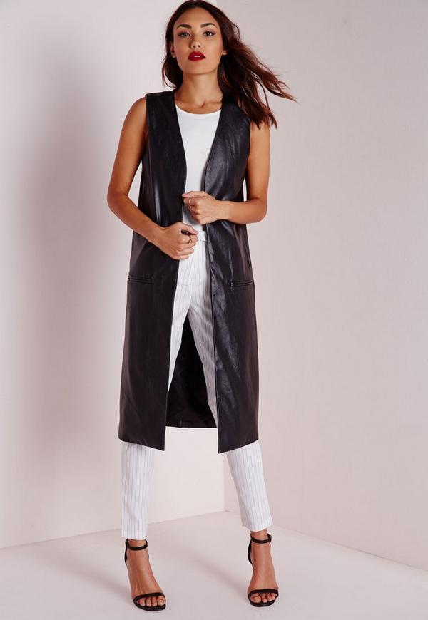 Longline Sleeveless Jacket in Faux Leather Black