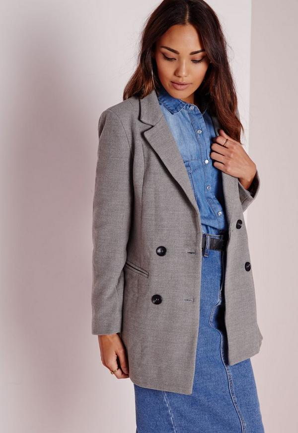 Double Breasted Tailored Wool Coat Grey