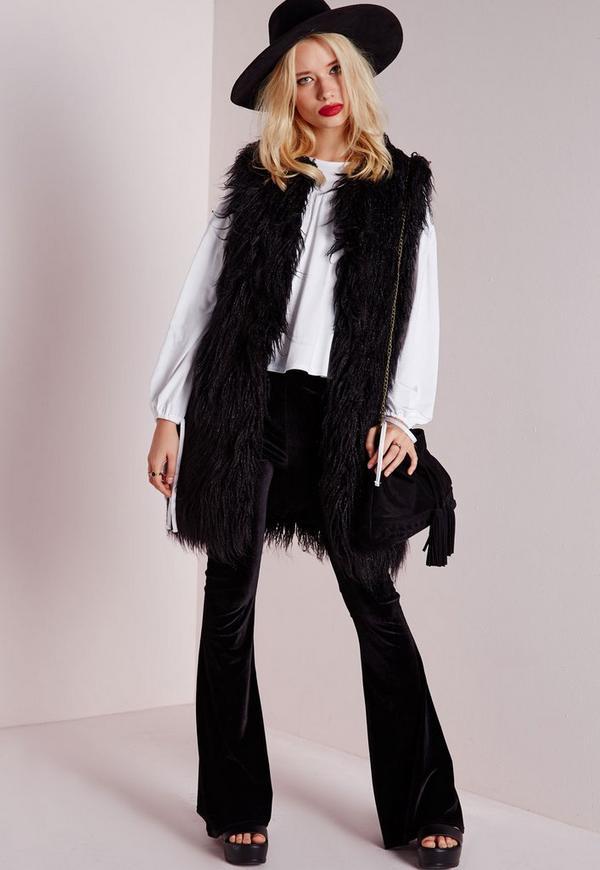 Mongolian Faux Fur Longline Gilet Black