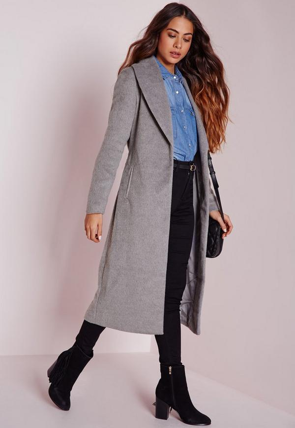 Brushed Wool Belted Robe Coat
