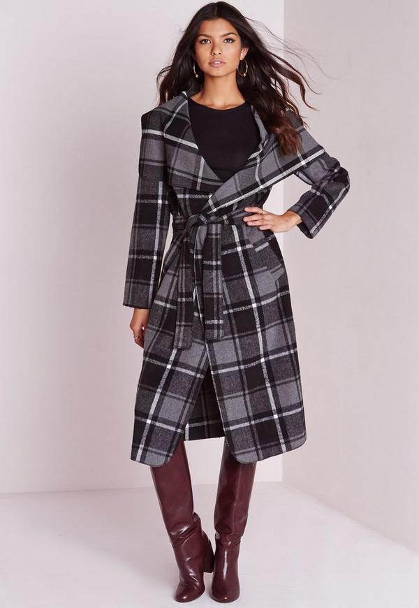 Checked Belted Waterfall Coat Grey