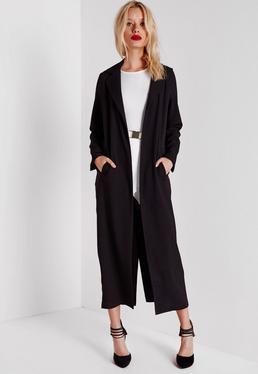 Abrigo duster largo de manga larga negro