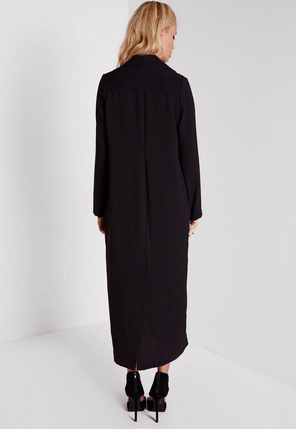 Long sleeve black duster coat