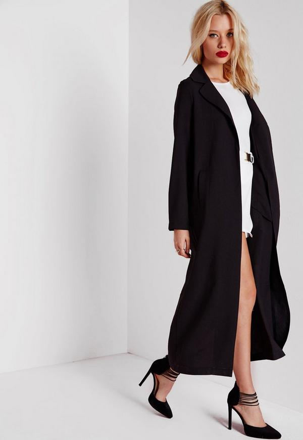 Long Sleeve Maxi Duster Coat Black Missguided
