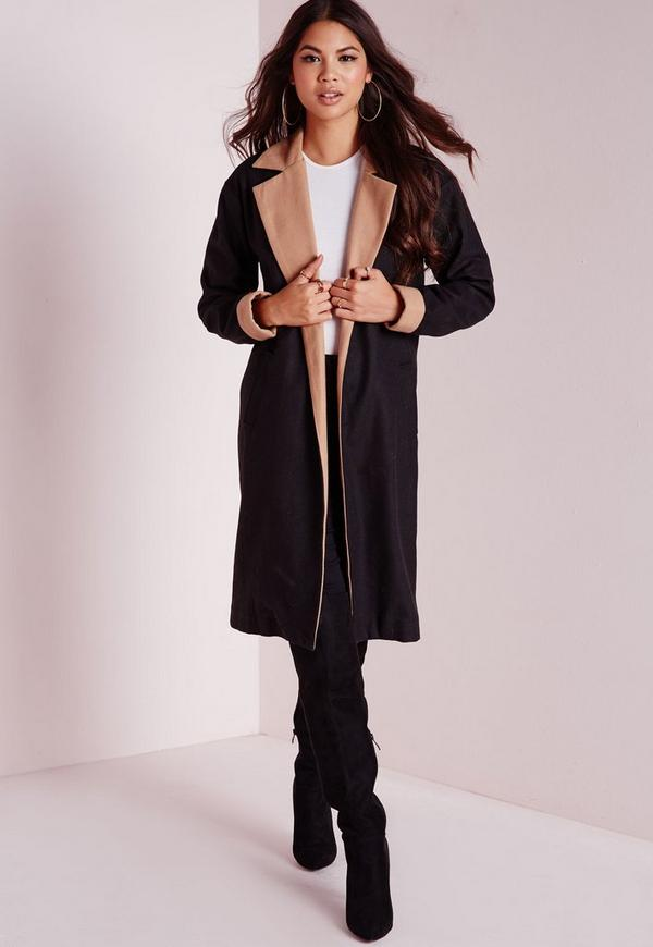 Contrast Lapel Duster Coat Black/Camel