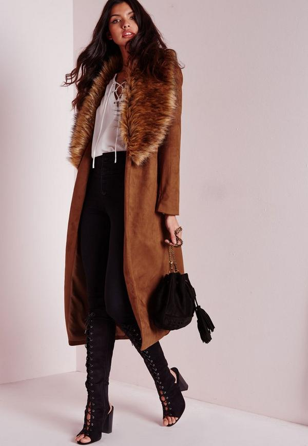 Faux Suede Oversized Coat with Fur Collar Tan